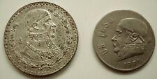 Huge 10% Silver Mexico 1967 Peso + Mexico Un Peso 1971 Copper Nickel Coin