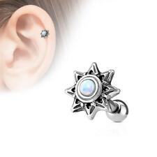 316L Surgical Steel Cartilage/Tragus Stud Barbell with White Opal Set Tribal Sun