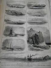 Gravure 1876 - Les Bords de la Mer ROuge