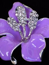 """RHINESTONE TROPICAL ISLAND LAVENDER LILY HIBISCUS FLOWER PIN BROOCH JEWELRY 2"""""""