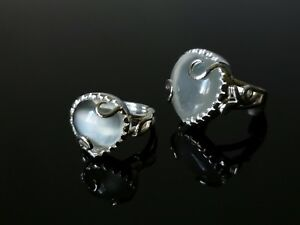 6ct White Moonstone Ring, Platinum Silver Size 4 to 7