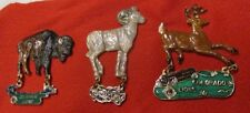 LIONS CLUB PINS: SET OF (3) ANIMALS from COLORADO, Deer, Goat, Buffalo