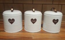 NEW SET 3 WHITE COPPER HEART COFFEE SUGAR TEA KITCHEN STORAGE TINS CANISTERS JAR