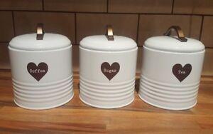 NEW SET 3 WHITE COPPER HEART COFFEE SUGAR TEA KITCHEN STORAGE TINS CANISTERS JAR