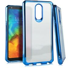For LG Q7 / LG Q7+ Plus - Hard TPU Rubber Gummy Chrome Clear Phone Case Cover