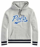 Polo Ralph Lauren Men's SZ L Double-Knit Graphic Logo Hoodie Gray Blue