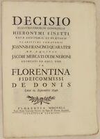 DECISIO FINETTI IN FLORENTINA FIDEICOMMISSI DE DONIS 1741 DE MARERIS TESTAMENTO