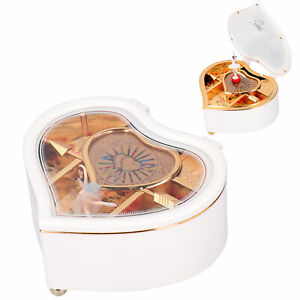 Music Box With Rotating Dancing Ballet Girl Heart‑Shaped Ornaments Gift White
