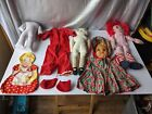 ANTIQUE-VINTAGE RAG DOLL PIECE PART AND CLOTHING LOT.