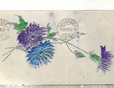 Embossed Flowers   Mailed from Habana Cuba 1908  DB  Postcard 2218