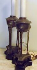 antique Vtg PAIR BRASS Bronze FRENCH EMPIRE POMPEIAN OIL Style LAMPS Paw Feet