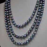 120cm long 7-8mm peacock black genuine cultured Pearl necklace  #700505