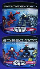 RHINO + NEW GOBLIN + 2 SPIDER-MAN Super Hero Squad Figure 2-Packs -TWO Sets 2007