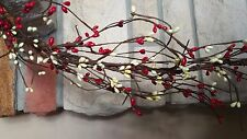 """DLCC~24"""" Red/white Pip berry Garland Primitive Two feet"""