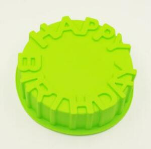 """1x 7"""" Pink/Green Non Stick Silicone Round Cake Cavity Mould With Happy Birthday"""