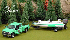 DieCast Green Park Ranger Vehicle w Boat & Trailer O 1:43 by Gearbox