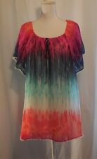 Studio JPR Womens Top Size 1X NWT$54 Watercolor Ombre Peasant BIN$21 Ships Free
