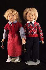 """German Toys & Crafts  20"""" Twin Boy & Girl Vinyl/Cloth Dolls  Blonde  W.Germany"""