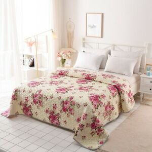Red Floral Bedspread Set Quilt/Doona Blanket Coverlet King Size Bed Pillowcases