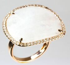 Moonstone Ring with Diamond in 14k Rose Gold ( D 0.43, MS 17.8)