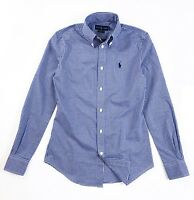Ralph Lauren Women's Shirt Slim Fit Poplin Blue Gingham Checks Long Sleeves