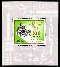 Hungary - 1967 Mail centenary / Coach - Mi. Bl. 60A MNH