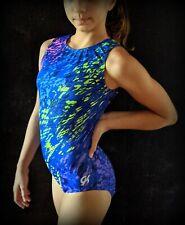 GK Elite Gymnastics Leotard Blue Camo Rainbow Printed Size AS