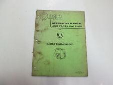 Onan Dja Series Electric Generating Sets Operators Manual & Parts Catalog Stains