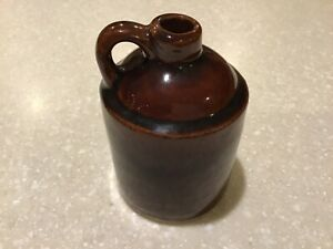 "Antique Vintage Small Brown Stoneware Crock Jug 4 1/2"" Tall"