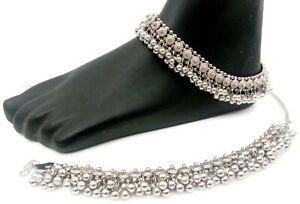 AFGHANI OXIDISED GERMAN SILVER ANTIQUE ANKLET PAYAL INDIAN FASHION WOMEN JEWELRY