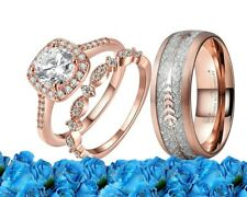 His and Her Wedding Ring set Tungsten and Cz rose gold engagement Matching Bands