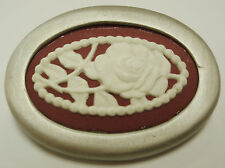 "Authentic Wedgwood- Oval Pin- ""Roses with Pearls""  Burgundy Jasperware"