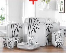 32 PIECE WHITE BLACK SQUARE DINNER SERVICE SET RETRO DESIGN STONEWARE