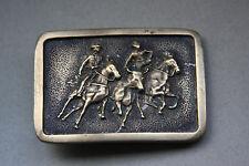 Vintage Belt Buckle - Cowboys Herding  a Steer - Made of Solid Brass