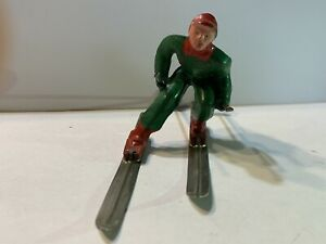 Vintage Barclay Lead Metal Man Skier With Poles- Christmas Display Scene