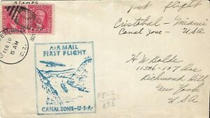 US Canal Zone First Flight Cover Cristobal to Miami Feb 10, 1929,