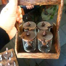 Set Wooden Thai Kitchen Seasoning Box Condiment Storage Container Glass Spice