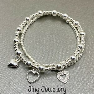 Sterling Silver Stacking Bracelets Set Of 3 Heart Charm, Handmade Bracelets 925