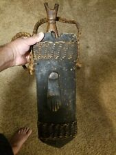 Large Knife African Tribal Artifact Congo Sword Machete Wood Carved Sheath Lqqk