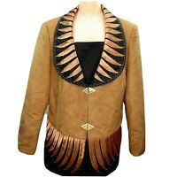 Faith Faux Suede Embellished Collar Trim Jacket Size 14W Brown Black