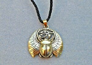 Scarab Necklace with Eye of Ra. Gold or Silver Colours. Egyptian, Kemetic, Horus