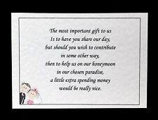 10 Handmade Personalised Wedding Money Poem / Honeymoon Wish Cards