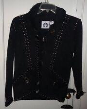 XS NWT Ladies Women Storybook Knits Cardigan Sweater Black Studs Buckles Handkni