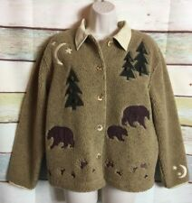 Cabela's womens size small brown bear button front Christmas holiday sweater