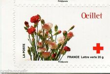 FRANCE 2014, timbre CROIX ROUGE AUTOADHESIF FLEURS, OEILLET, neuf**, FLOWERS