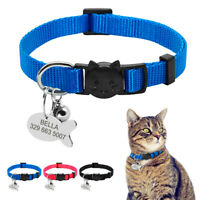 Personalised Pet Puppy Cat Breakaway Collars with ID Tag Safety Quick Release