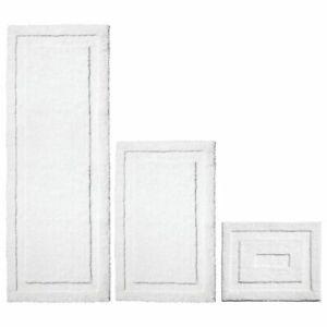 mDesign Soft Microfiber Polyester Bathroom Spa Mat Rugs/Runner, Set of 3 - White