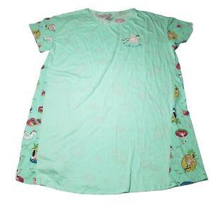 Womens Mint Take It Easy Pink Flamingo Nightgown Sleepshirt Sleep Shirt 2X-3X