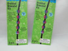 Kid's Craft 2 Braided Bracelet Kits - Black with Purple Faceted Beads