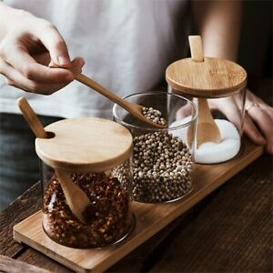 3 in 1 Bamboo lid Glass Jars Set Wooden tray and spoons Hot chocolate station